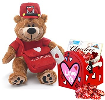 Image Unavailable. Image not available for. Color: Love Letters Plush Teddy Bear & Mailbox Valentine Gift