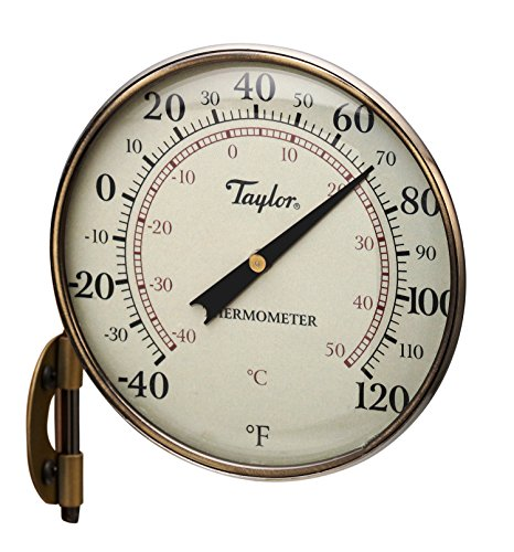 Classic Bronze Outdoor Bracket - Taylor Precision Products Heritage Metal Dial Thermometer (4.25-Inch)