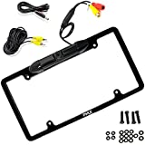 Pyle PLCM19 License Plate Frame Rear View Backup Camera, Distance Scale Lines Parking/Reverse Assistance, Waterproof Camera, Night Vision