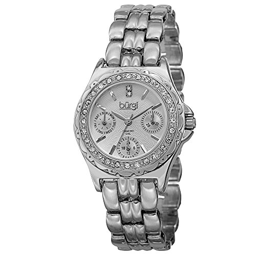 - Burgi Women's BUR117SS Diamond & Crystal Accented Guilloche Dial Silver Bracelet Watch