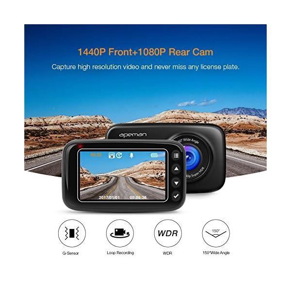 APEMAN Dash Cam FHD 1440p 1080p Dual Dash Camera With IR Sensor 6G Lens G Sensor WDR Super Night Vision Loop Recording Parking Monitoring Etc
