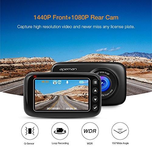 apeman dash cam fhd 1440p 1080p dual dash camera with ir. Black Bedroom Furniture Sets. Home Design Ideas