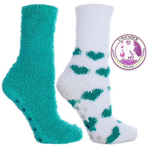 - 2 Pair Pack of Kissables Lavender Infused Chenille Slipper Socks-Emerald and White with Emerald Hearts By MinxNY