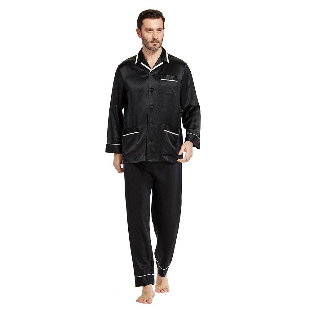 LilySilk Silk Pajamas Set for Men Summer 22 momme Most Comfortable Sleepwear Black XL