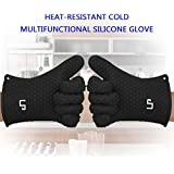 LP Silicone Heat Resistant Grilling BBQ Gloves (Pair) for Cooking Camping Baking Smoking Potholder Fireplace Black