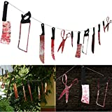 12PCS Bloody Weapons Garland Props for Halloween Decorations 2.4M/7.9ft