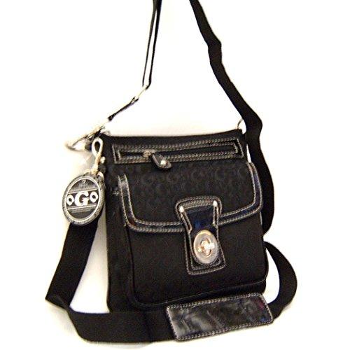 Designer Inspired Cross-body BLACK G metal lock pockets messenger wallet sling bag