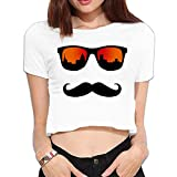 Ghhpws Mustache with Glasses Summer Women Sexy Revealed Navel Short Sleeve Bare Midriff Crop Top Tee White XL