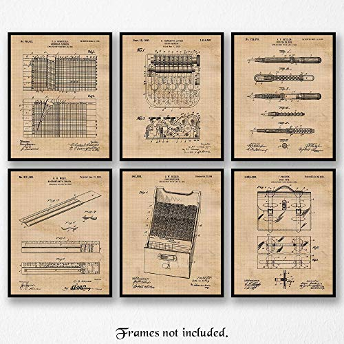 Original Accountant Patent Art Poster Prints, Set of 6 (8x10) Unframed Photos, Great Wall Art Decor Accounting Gifts Under 20 for Home, Office, Garage, Man Cave, Student, Teacher, Math Fan