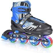 Trosetry Inline Skates, Adjustable Outdoor Indoor Roller Skates with Light Up Wheels for Kids, Teenagers, Girl