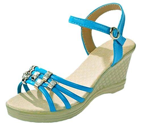 Scothen Mujer bajos del tobillo de la cuña era muy austeras punta de la cuña sandalias mujeres calza las sandalias talón de la plataforma de desplazamiento/cuña de las sandalias gladiadores bucle Blue