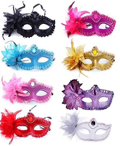 Masquerade Masks Jacksonville Fl (CISMARK Masquerade Masks for Mardi Gras Proms, Halloween or Parties 8 Colors, One)