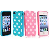 Importer520 2in1 Combo Polka Dot Flex Gel Case for Iphone 4 & 4S, Baby Blue/Pink