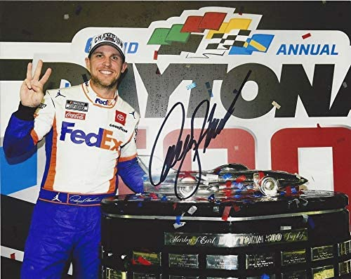 Autographed 2020 Denny Hamlin 11 Fedex Racing Daytona 500 Race Win Victory Lane Trophy Nascar Cup Series Signed Collectible Picture 8x10 Inch Glossy Photo With Coa At Amazon S Sports Collectibles Store