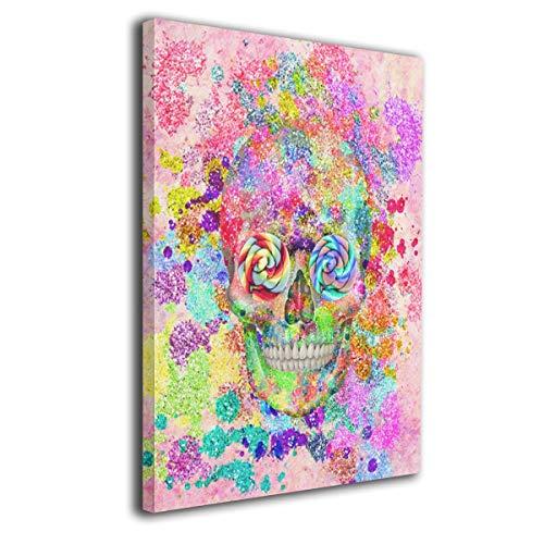 - Hobson Reginald Canvas Wall Art Prints Cute Sugar Skulls -Photo Paintings Modern Home Decoration Giclee Artwork-Wood Frame Gallery Wrapped 16