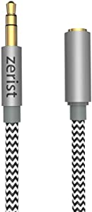 3.5mm Stereo Audio Cable Extension Male to Female Nylon Braided 10ft/3m Zerist Tangle-Free AUX Cable for Headphones, iPods, iPhones, iPads, Home/Car Stereos and More (Black)