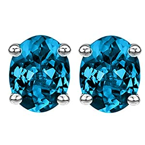 14k Gold Post & Sterling Silver Oval Cubic Zirconia Simulated Blue Topaz Stud Earrings 5.00ctw