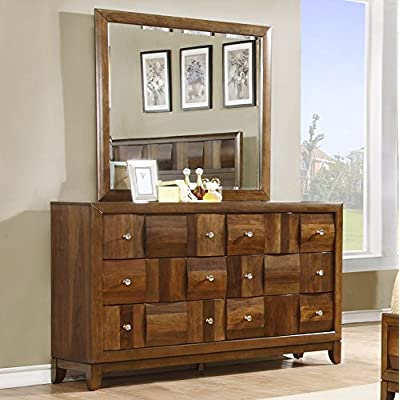 Roundhill Furniture Calais Solid Wood Construction Dresser and Mirror, Walnut - Walnut finish. Velvet applied for 1st drawer Includes 6 drawers with full extension ball bearing drawer glides and English dovetail Solid wood construction - dressers-bedroom-furniture, bedroom-furniture, bedroom - 51i1YabkLsL. SS400  -