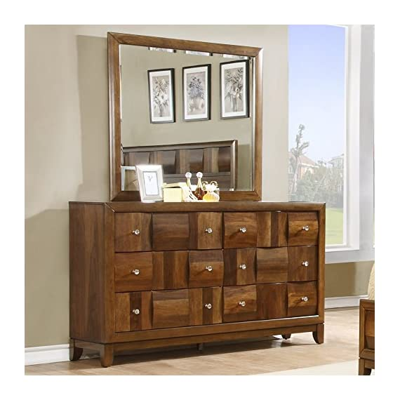 Roundhill Furniture Calais Solid Wood Construction Dresser and Mirror, Walnut - Walnut finish. Velvet applied for 1st drawer Includes 6 drawers with full extension ball bearing drawer glides and English dovetail Solid wood construction - dressers-bedroom-furniture, bedroom-furniture, bedroom - 51i1YabkLsL. SS570  -