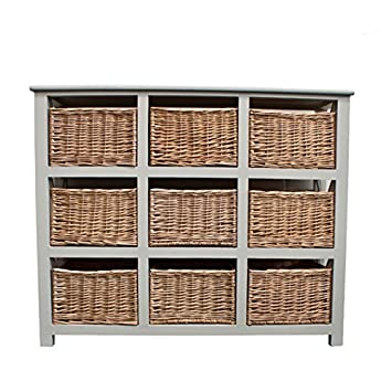 Amari Leisure Gloucester Large 9 Willow Basket Drawer Storage Unit Chest in Pearl White Painted Finish  sc 1 st  Amazon UK & Amari Leisure Gloucester Large 9 Willow Basket Drawer Storage Unit Chest in Pearl White Painted Finish - extra large drawers!