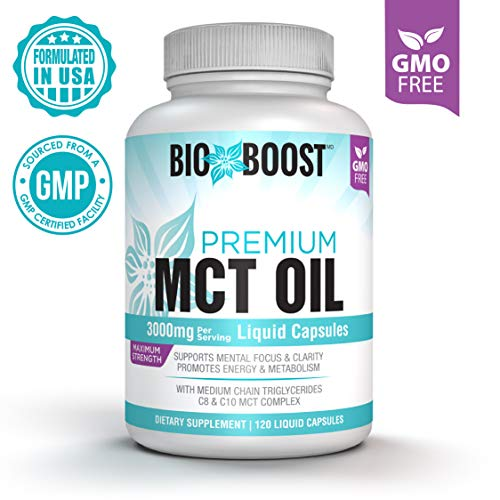 Medium Chain Fatty Acids Coconut Oil - [Extra Strength] MCT Oil Capsules 3000mg 100% Pure MCTs Non-GMO Coconut Oil, Perfect Keto MCT Pills for Ketogenic Diet, C8 & C10 Medium-Chain Triglycerides, Gluten-Free Healthy Fats on-The-go! 120-ct