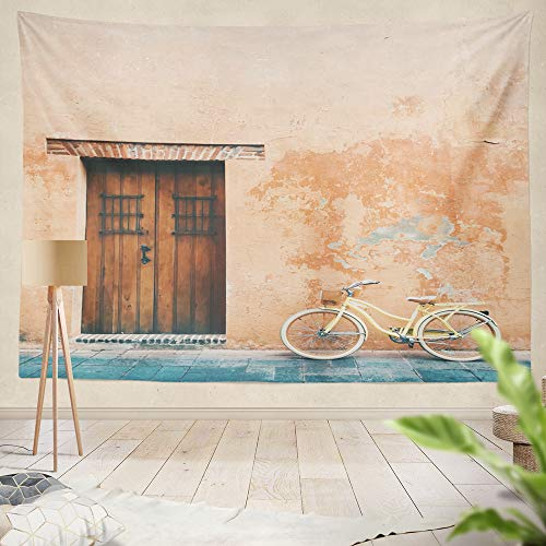 """threetothree 80"""" W x 60"""" L Tapestry Wall Hanging Interior Decorative Yellow Vintage Bicycle Front Old Pink Orange House with Wooden Door Minimal for Bedroom Living Room Tablecloth Dorm"""