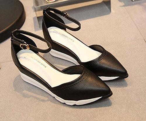 Easemax Womens Trendy Puntige Teen Enkel Hoge Gesp Platform Verhogen Middenhak Pumps Schoenen Zwart
