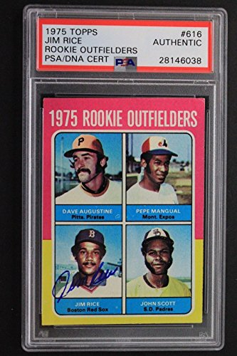 Jim Rice Rookie Outfielders Autographed 1975 Topps #616 Signed Rookie Card PSA Autographed Jim Rice