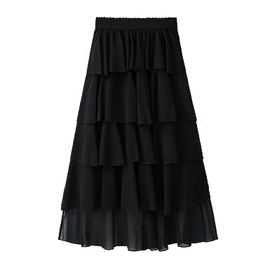 Yiiquanan Damen A-Linie Stufenrock Maxi Röcke A-Linie Falten Röcke Sommer  Elegant Chiffonrock Einfarbig (Schwarz, One Size)  Amazon.de  Bekleidung 74d5f38fbc