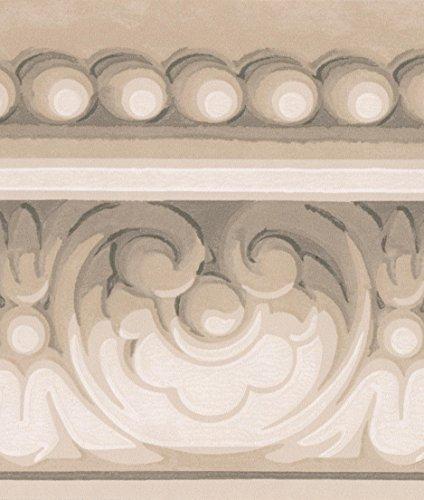 Grey White Damask Crown Molding Wallpaper Border Classic Design, Roll 15' x 5.5''