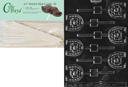 - Cybrtrayd 45St50-M075 Horseshoe Lolly Miscellaneous Chocolate Candy Mold with 50-Pack 4.5-Inch Lollipop Sticks
