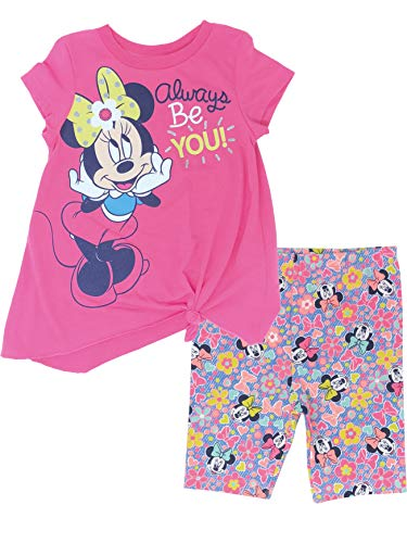 Disney Minnie Mouse Toddler Girls' High-Low Tunic & Bike Shorts Set (Hot Pink, -