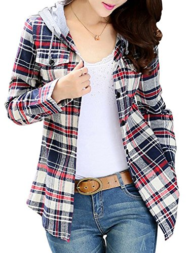 Asher Women Classic Long Sleeves Cotton Hoodie Button-up Plaid Shirts (M, Gray)Tag Size (Button Up Long Sleeved)