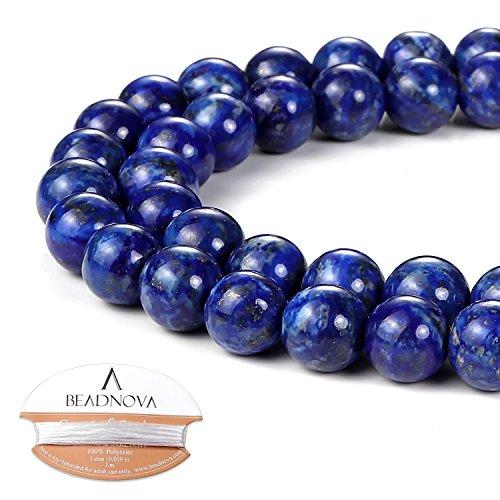 (BEADNOVA 8mm Blue Lapis Lazuli Gemstone Round Loose Beads for Jewelry Making)