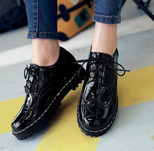 Carolbar Femmes En Cuir Verni Lacets Décontracté Confort Talon Caché Oxfords Chaussures Noir
