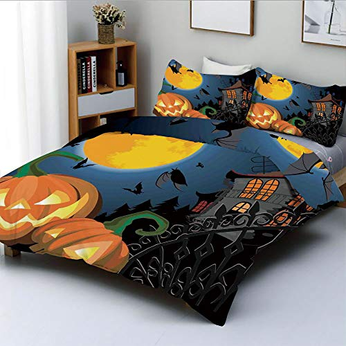 Duplex Print Duvet Cover Set King Size,Gothic Halloween Haunted House Party Theme Decor Trick or Treat for KidsDecorative 3 Piece Bedding Set with 2 Pillow Sham,Multi,Best Gift for Kids & Adult -