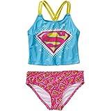 Warner Bros Supergirl Logo Tank Bikini Swimsuit Girls Small (6-6x)