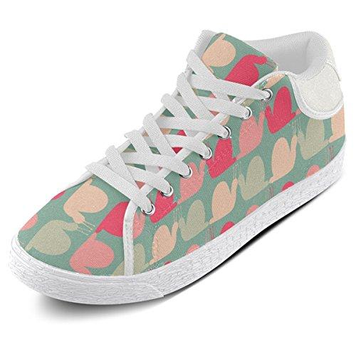 Artsadd Kleurrijke Slakken Patroon Chukka Canvas Schoenen Voor Vrouwen (model003)