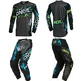 O'Neal Element Villain Gray Adult motocross MX off-road dirt bike Jersey Pants combo riding gear set (Pants W28/Jersey Small)