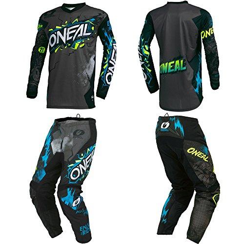 O'Neal Element Villain Gray Adult motocross MX off-road dirt bike Jersey Pants combo riding gear set (Pants W34/Jersey (Motocross Off Road Pants)