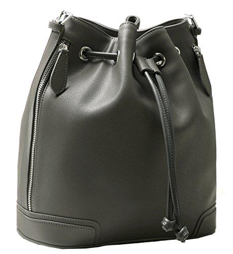 Kenoor Leather Drawstring Bucket Bag Retro Handbags Shoulder Bag Purses Crossbody Bags For Women with Long Shoulder Strap (Grey) (Leather Bucket Bags Handbags)