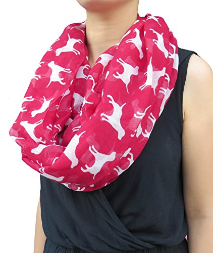 Lina & Lily Labrador Dog Print Women's Infinity Scarf Lightweight (Red)