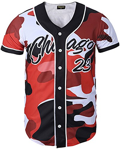 PIZOFF Short Sleeve Arc Bottom 3D Camouflage Print Baseball Jersey Shirt Y1724-23-M ()