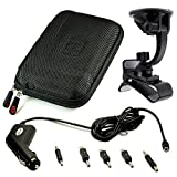 "VanGoddy GPS Carrying Case w/ Carbineer for TomTom START 55 TM / 50 M / 50 5"" GPS Navigator (Black Nylon) + 5 in 1 GPS Car Charger + Windshield Mount"