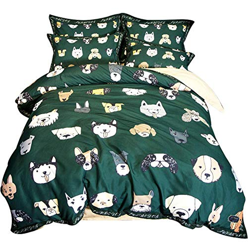 MeMoreCool Cotton Bedding Set Little Boy Reversible Cartoon Boys/Teens 4PCS Cute Animal Print Duvet Cover Soft with 2 Pillow Cases, Dogs Print Comforter Covers Full Queen Size (Allerrest Pillow)