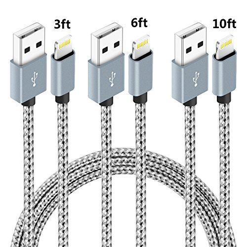 iPhone Charger,NANMING Lightning Cable 3Pcs 3FT 6FT 10FT Extra Long Nylon Braided Charging Cable Cord Lightning to USB Cable for iPhoneX /8Plus 7/7Plus/6/6s/6 plus/6s plus,5/5s/5c,iPad (Grey+White)