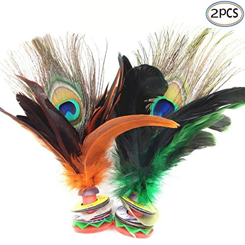 Shuttlecocks Ukick Feather Football Kicking Featherball for Competition Ourdoor Shuttlecocks Games Colorful Chinese Jianzi Kids Toy Badminton Shuttlecocks Feathers 2 PCS