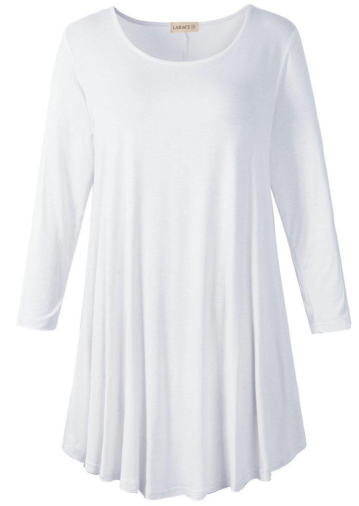 LARACE Women 3/4 Sleeve Tunic Top Loose Fit Flare T-Shirt(2X, White)