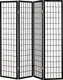 Legacy Decor 4 Panel Shoji Screen Room Divider, Black