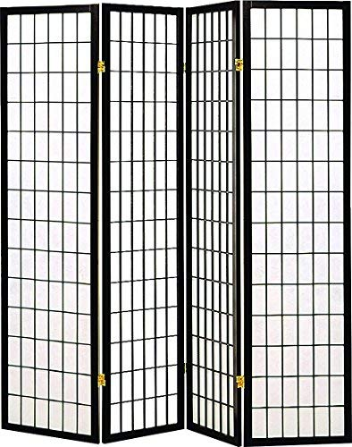 (Legacy Decor 4 Panel Shoji Screen Room Divider, Black)